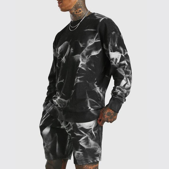 factory custom name brand sweat suits men two piece crewneck swedatshirts & shorts sets black tie dye tracksuit