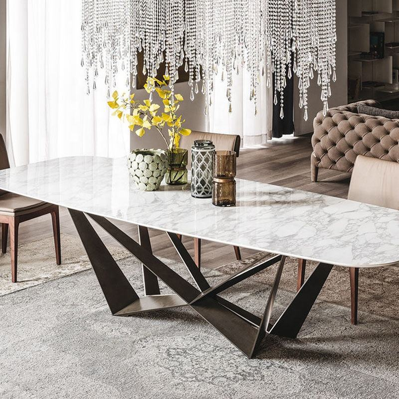 Foshan stainless steel x base 6 seater dining room furniture italian design luxury modern marble dining table sets