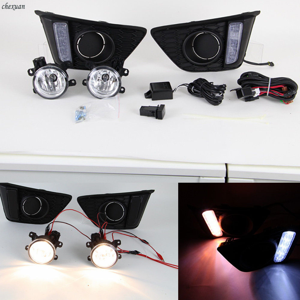 DRL Daytime Running Lights Dc with fog lamp For Honda jazz fit 2014 2015 2016 LED Accessories