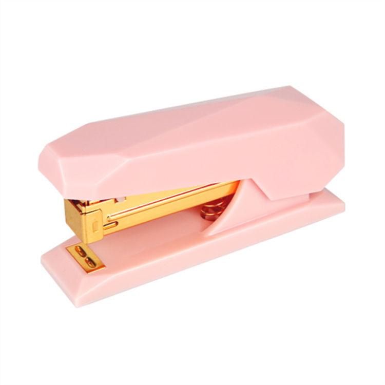 Pink Spring Powered Stapler Cute Mini No-Jam Desktop Office Staplers with Non-Slip Base Gold Rod 20 Sheets Capacity