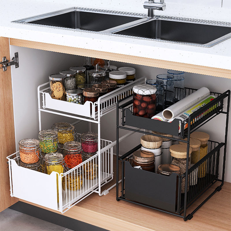 retractable steel shelf 2-tier under sink cabinet sliding basket organizer