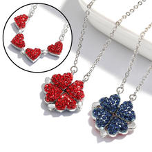 Christmas Gifts Lucky Crystal 4-in-1 Wearing 2 Sides Diamond heart necklace