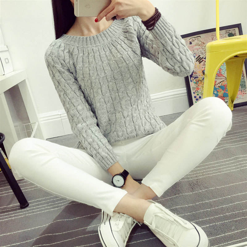 2020 Korean style students pullover knitted long sleeve winter sweaters womens