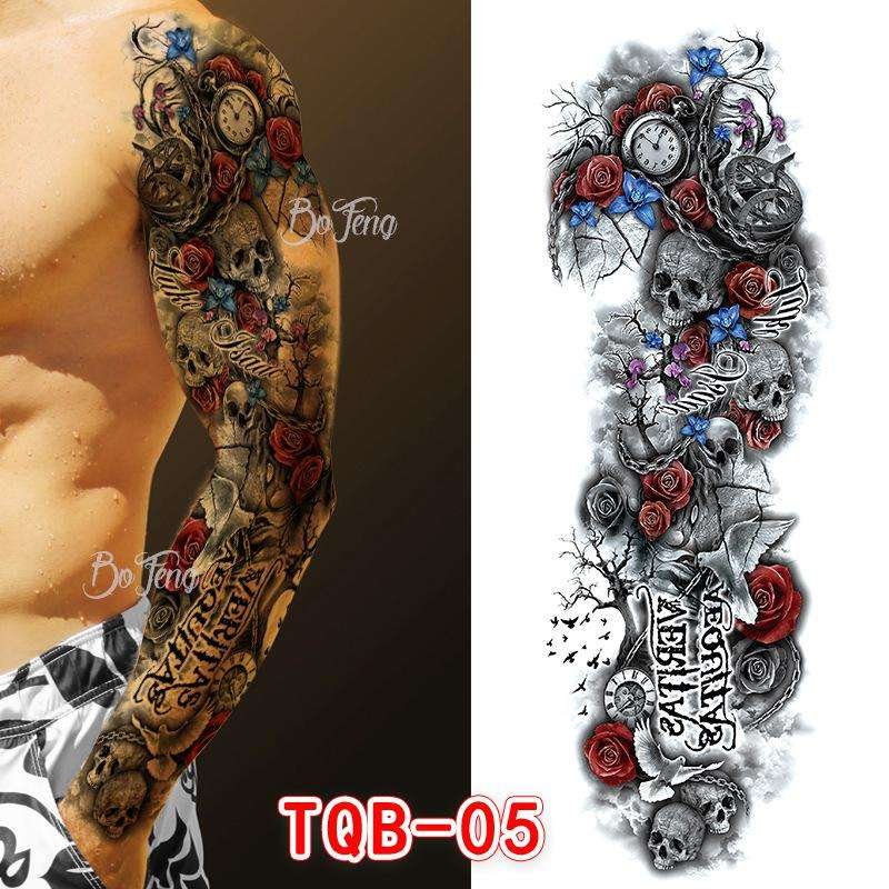 Waterproof Temporary Tattoo Sticker Full Arm Large Skull Old School Tatoo Stickers Flash Fake Tattoos for Men Women