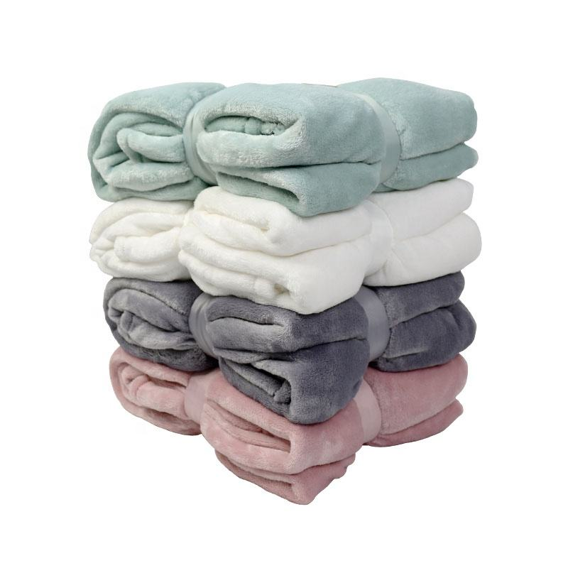 Cheap super soft and warmth 100% polyester plain flannel fleece throw blankets custom for living room