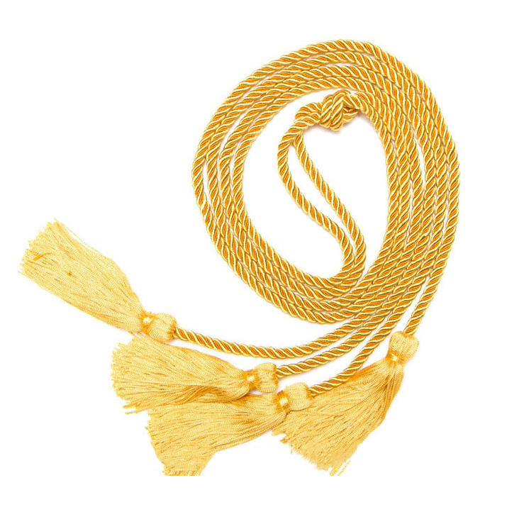 2 Pack Honor Cords Gold Double Honor Graduation Cord Yellow 68 inches Tassels Accessory for Academic Ceremony