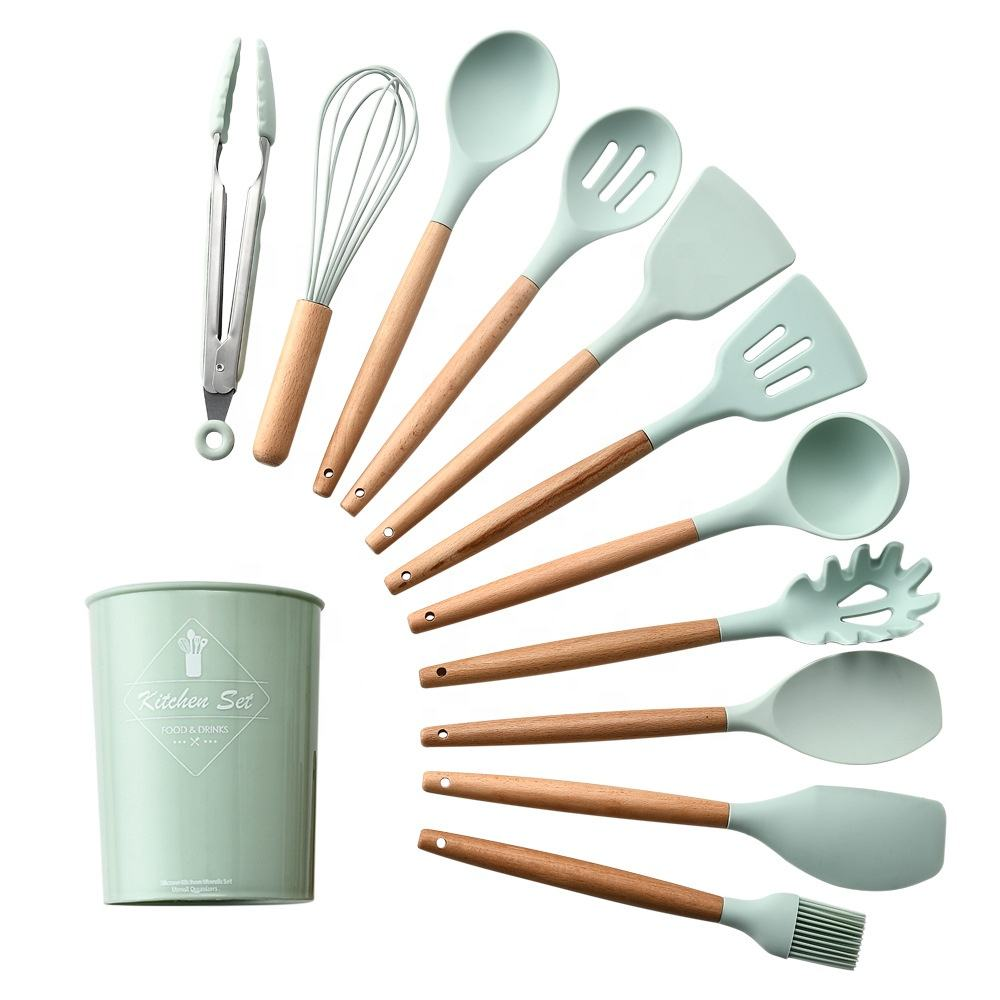 Silicone Cooking Kitchen Utensils Set Kitchen Non-Stick Utensils Tools with Bamboo Handle
