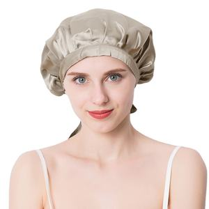 Bonnet with Wide Stretch Ties Women Care Cap Night HairFor Sleeping Adjust Hair Styling hat 100% Silk Head Wrap Shower cap