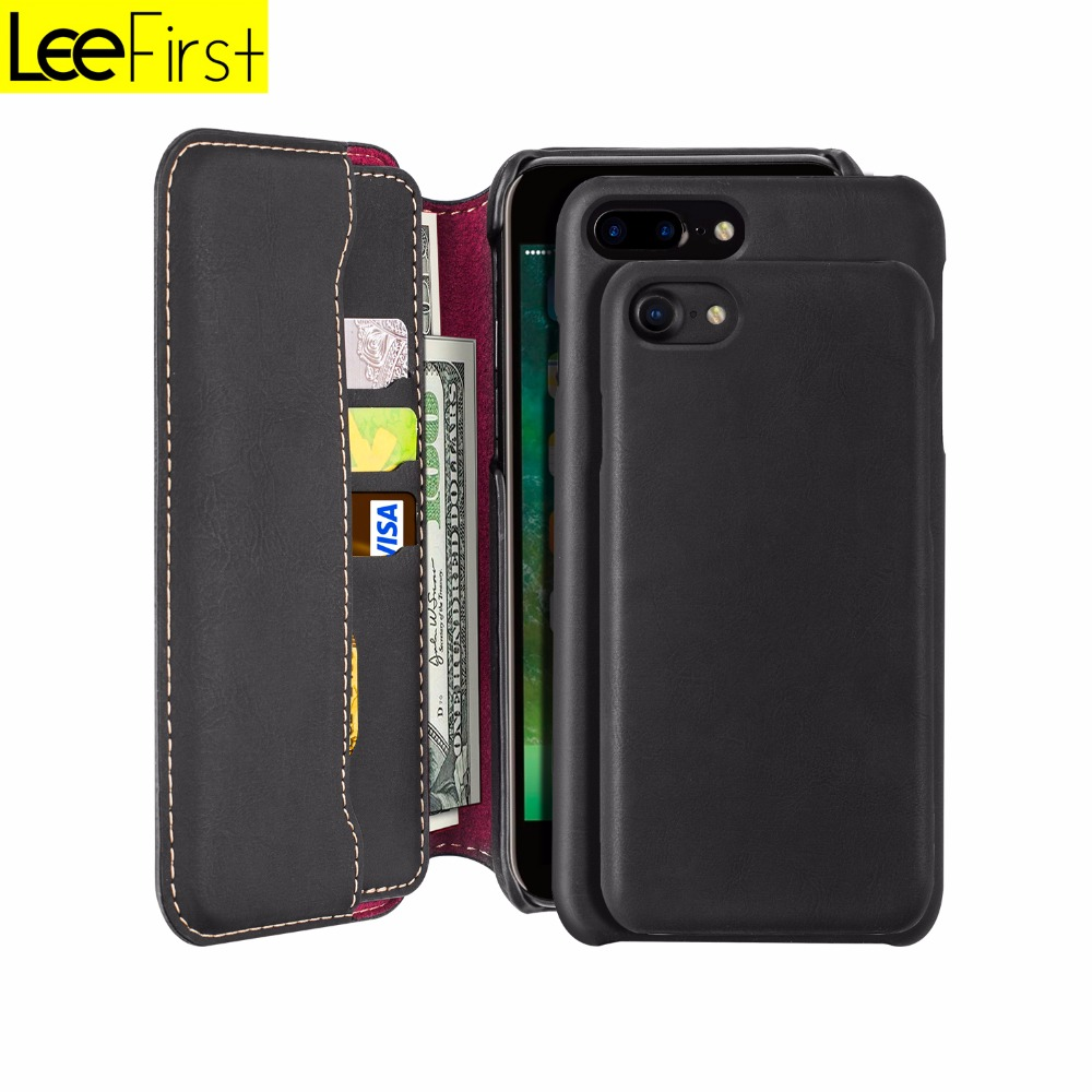 High Quality 2 in 1 PU leather luxury flip cell phone wallet cases For iPhone 7