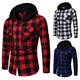New 2019 Shirt Men Spring Hot Sale Quality Plaid Shirts Hooded Outwear Long Sleeve Casual Male Chemise Homme EU Size S-XXL