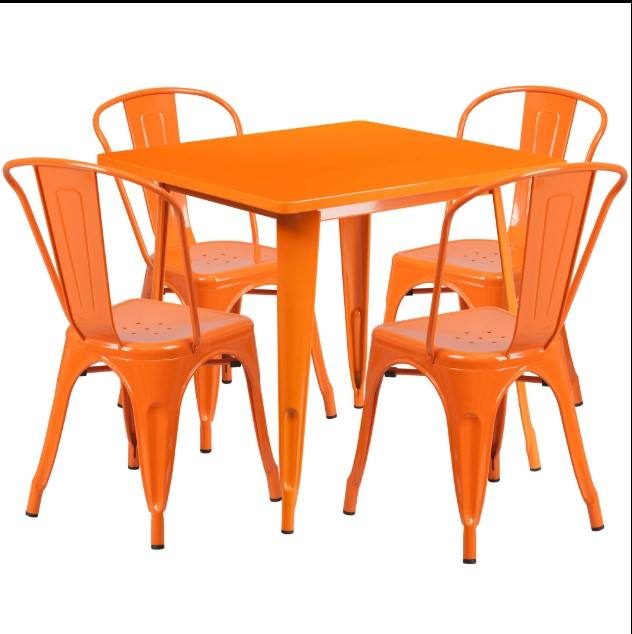 Metal Chairs Restaurant Modern Colorful Commercial Cheap Restaurant Industrial Bistro Chairs Tables Metal Outdoor Dining Table Set