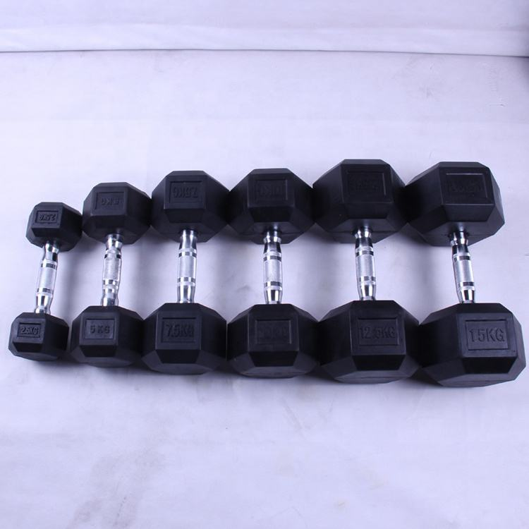 High Quality Hexagonal Rubber Covered Gym Equipment 10kg Dumbbell Set
