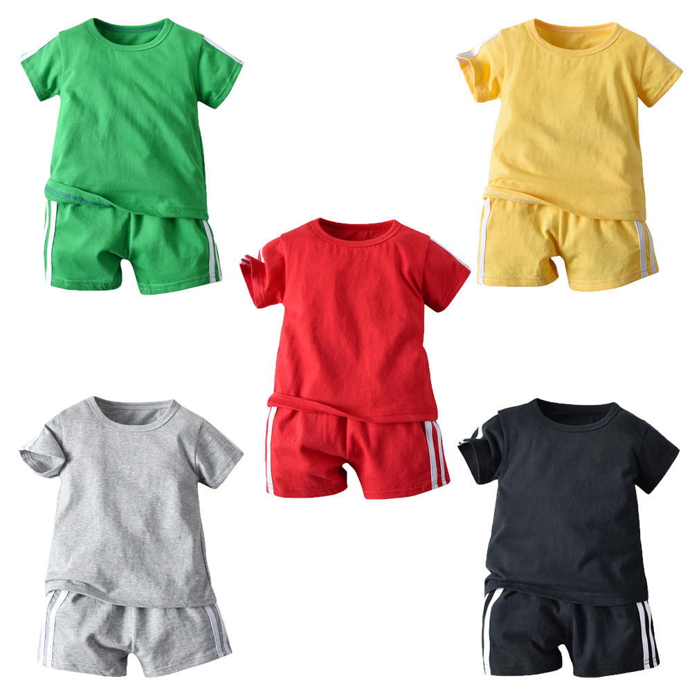 summer baby boys' 2 pieces pure cotton pure color clothing sets