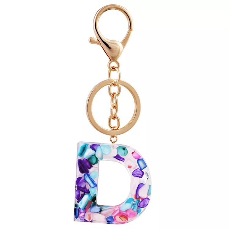 Hot Sale 26 Alphabet Resin Glitter Acrylic Letter D Keychain With Gold Chain