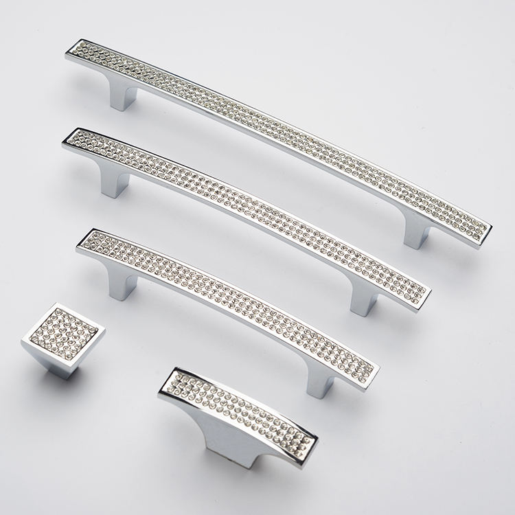 Chrome diamond kitchen accessories handle pull crystal modern style other furniture hardware high quality fancy cabinet handles