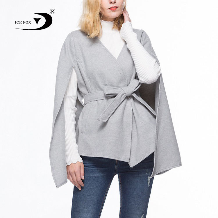 Fashion style women autumn winter double sided alpaca wool cape with waistband