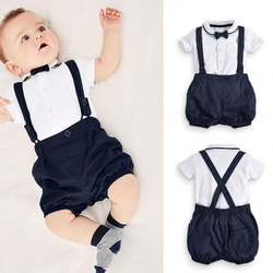 Toddler Infant Baby Boy Gentleman Outfits Short Sleeve T-Shi