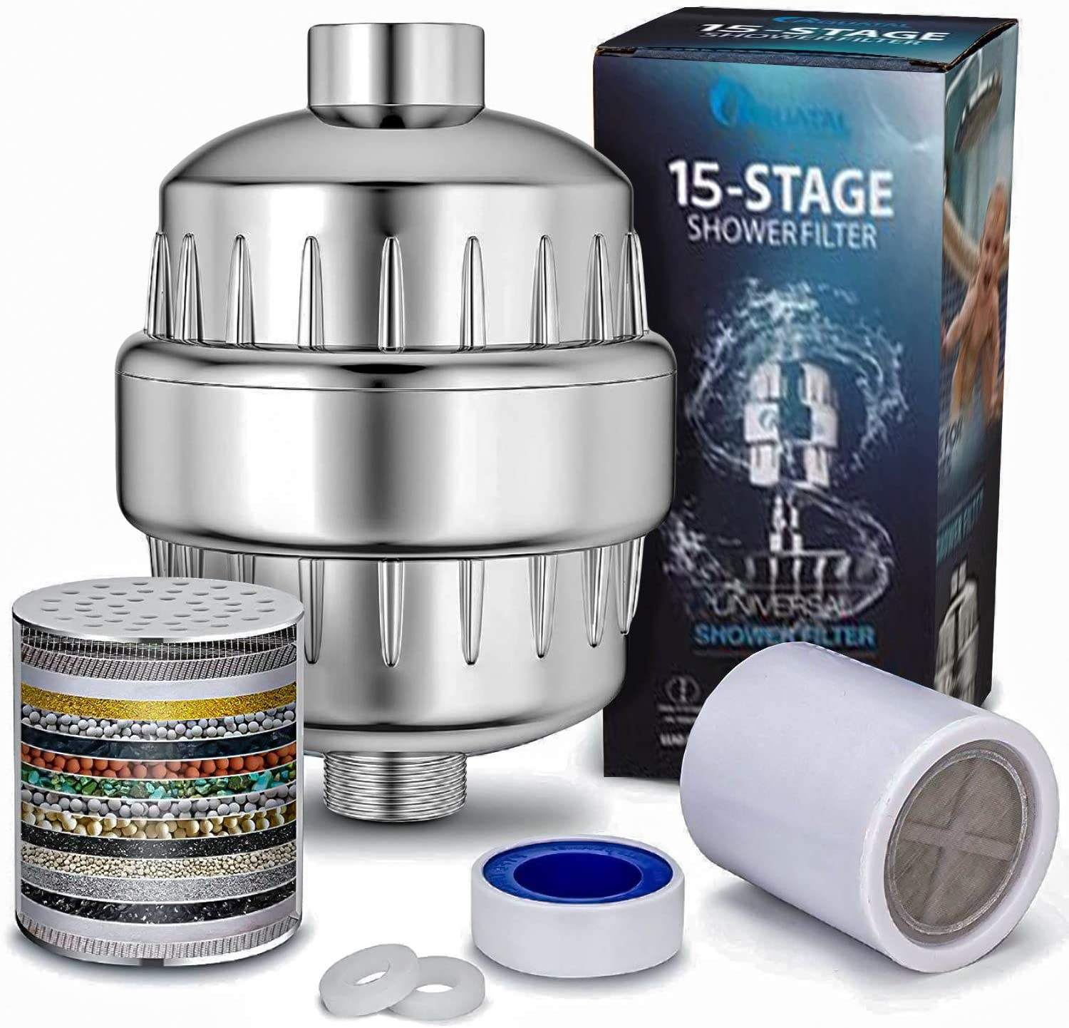 15 Stage Shower Water Filter with Carbon KDF for Hard Water