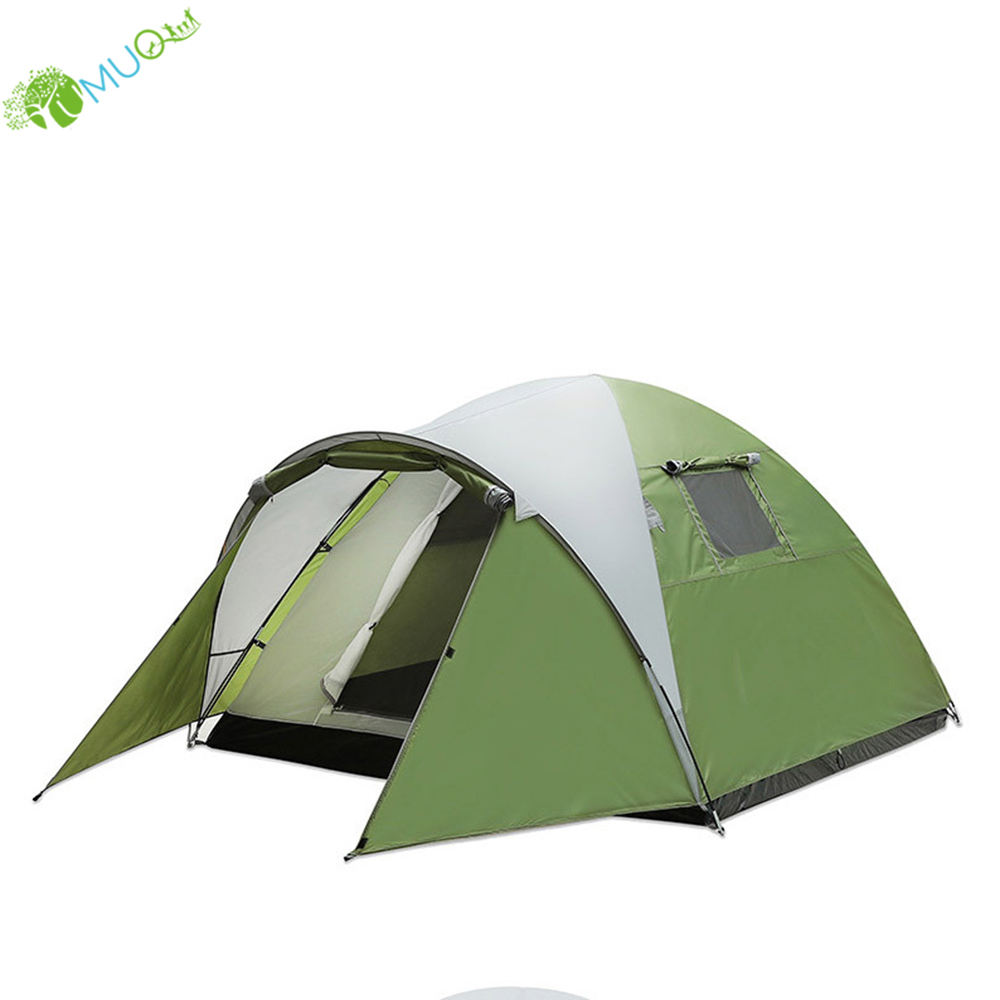YumuQ Outdoor Double Layer Waterproof Camping Tent, 7' x 10' Dome Tent for 3-4 Person Backpacking, Hiking and Travel