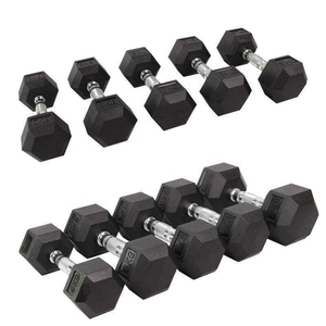 5kg To 50kg Gym Fitness Equipment Power Training Hex Rubber Coated Dumbbells Set