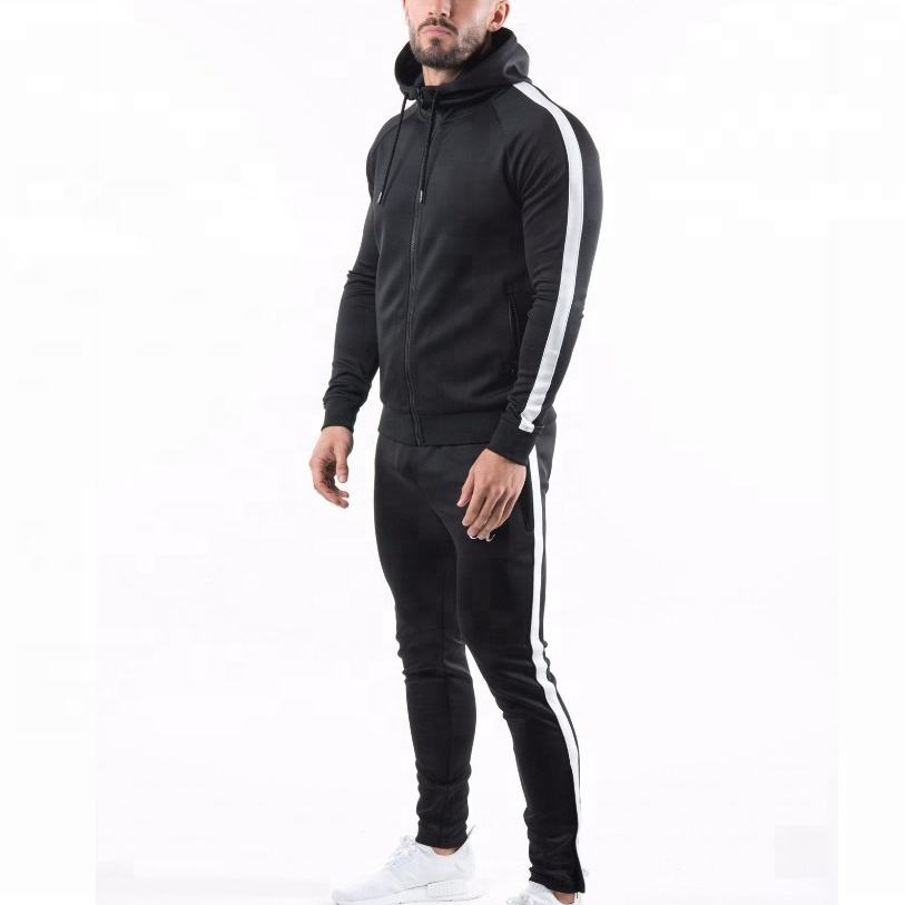 Wholesale gym fitness wear zip up hoodie and Joggers Outdoors custom mens Training Tracksuits