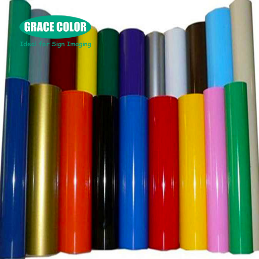 Promotional 80 mic pvc color self adhesive vinyl / sticker roll for cutting letters and graphics