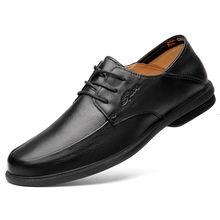 2020 Black breathable business casual men's shoes simple fashion leather shoes