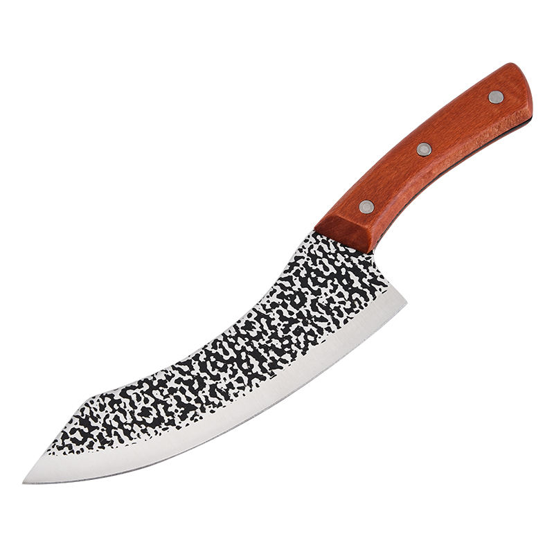 7 inch Kitchen Slaughter Knife Meat cleaver Butcher with beech wooden handle and Camping Outdoor Survival