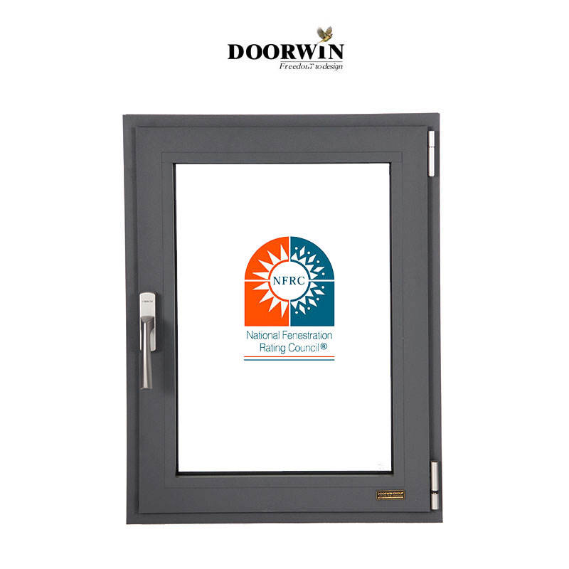 Doorwin Aluminum double tempered casement glass windows in low prices