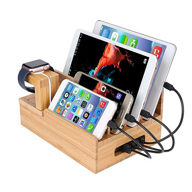 Desktop Wood Charging Tablet Stand Cell Mobile Phone Holder Bamboo Wooden Docking Station