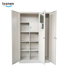 Customized modern KD beige color bedroom clothes storage cabinet 3 door steel armoire closet metal wardrobe locker with mirror