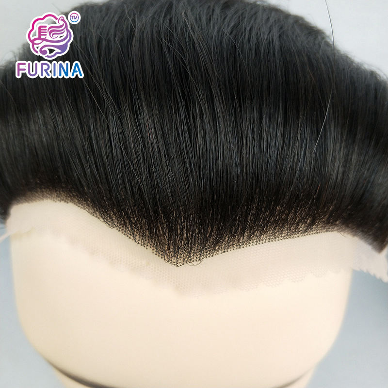 Soft lace hand woven human hair replacement system toupee human hair wigs with bangs for men