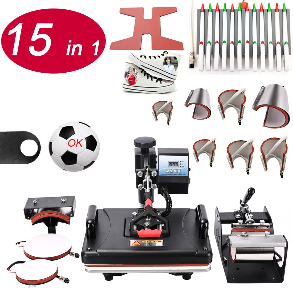Rubysub 15 In 1 Warmte Persmachine Pen Persmachine Printer Sublimatie Machine Voor T-shirt/Mok/Bal warmte Persmachine