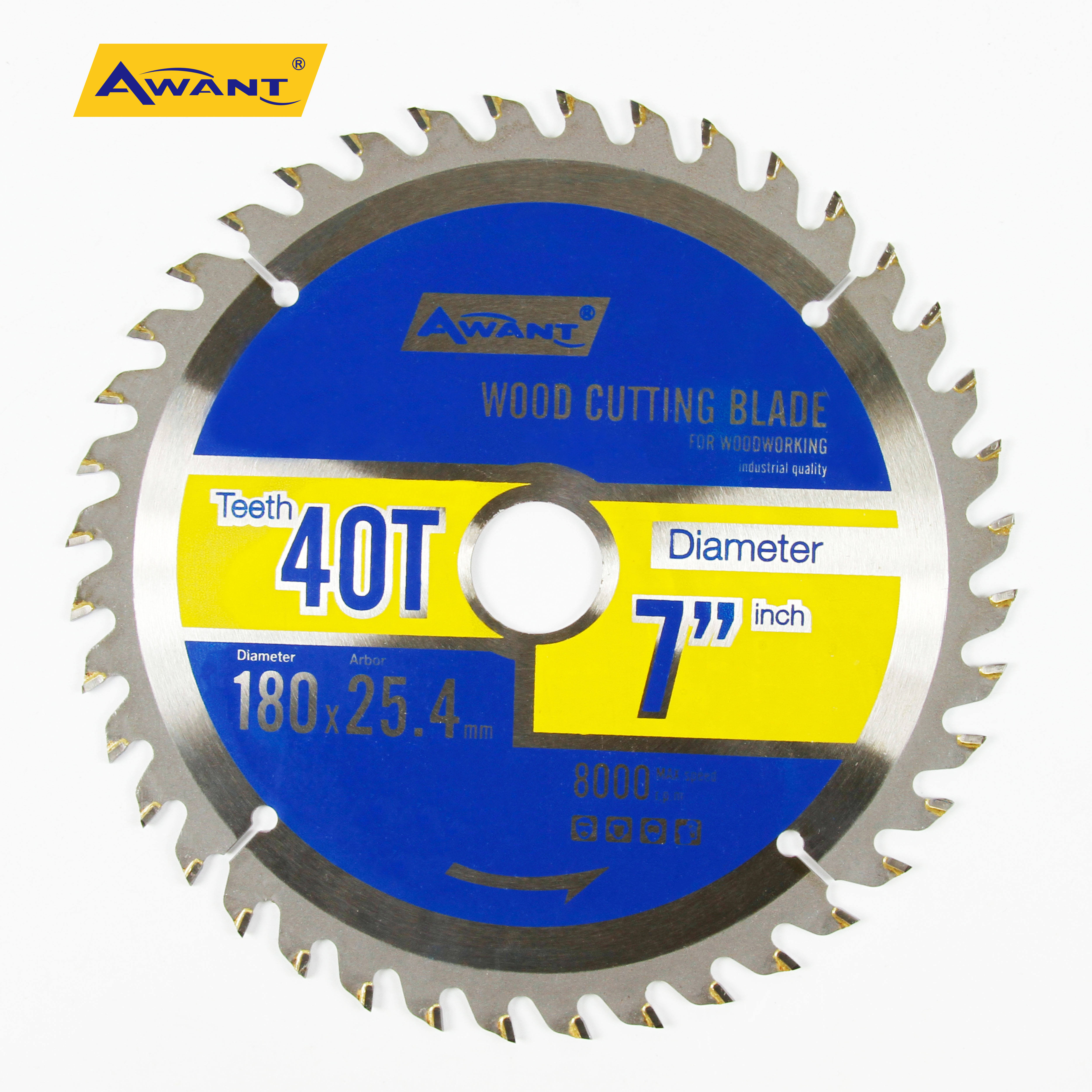 Circular Saw Blade 7 1/4 inch TCT Saw Blade 180mm for Wood Plastics Laminate Steel