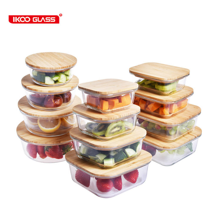 New design Borosilicate Glass Food Storage Container with Airtight Bamboo lid/Bento Lunch Box