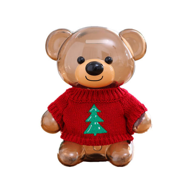 Retail Wholesale popular piggy bank unbreakable clothes bear cute design OEM/ODM toys for children adults Christmas gift