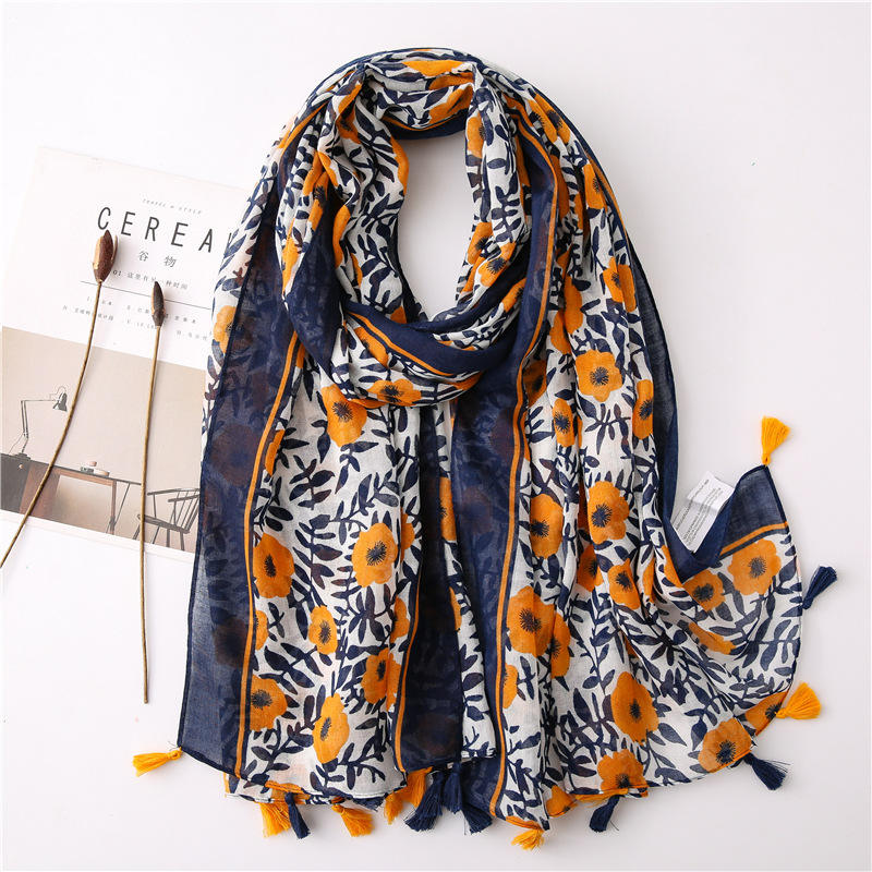 CLARMER Wholesales Fashion Women Scarf New Custom Pattern Fabric Cotton linen Flower Scarves Scarf