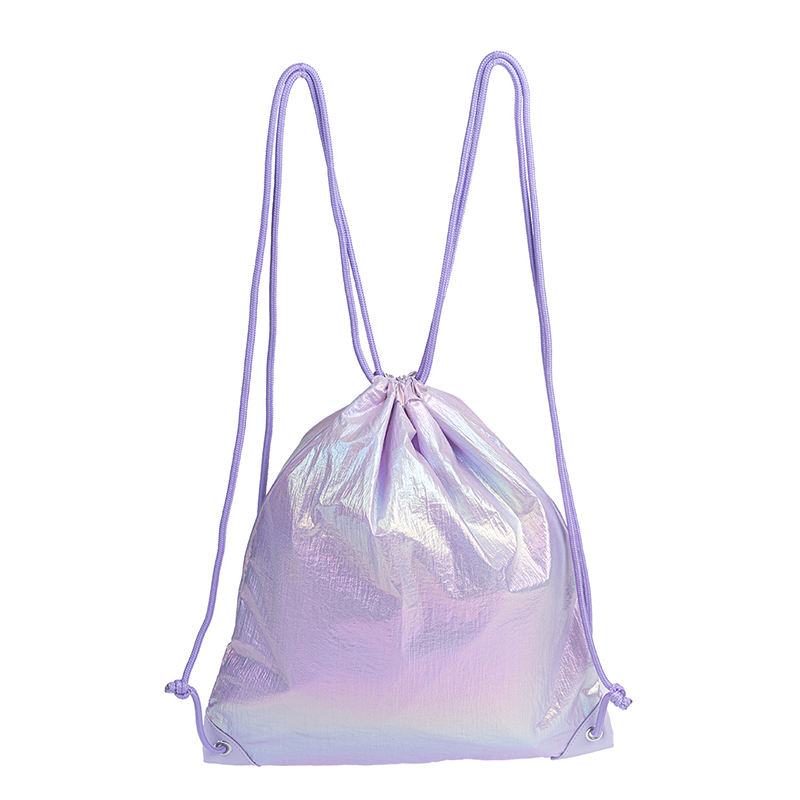 High Quality Wholesale Eco Foil Fabric Drawstring Shoulder Bag Backpack