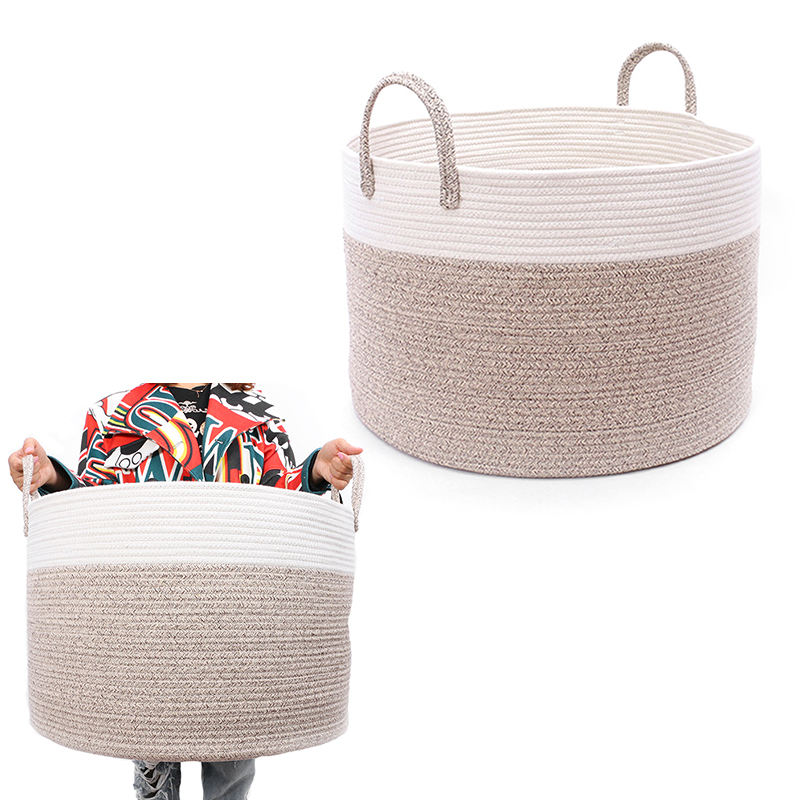 OEM best selling fabric cotton rope coiled laundry basket