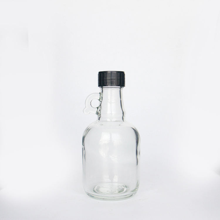 500ML Empty Big Round Glass Bottles with Handle for Wine Beverage with Black Plastic Caps
