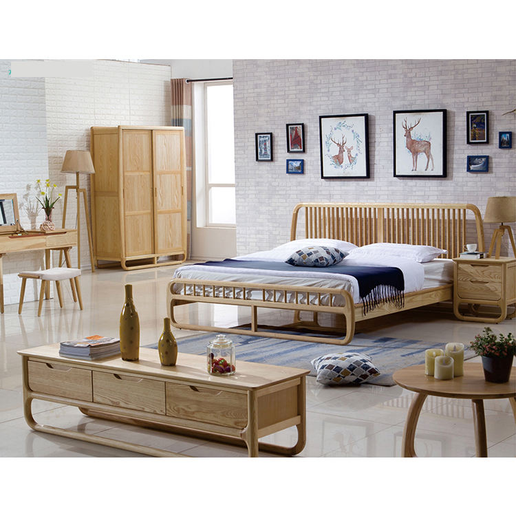 Nordic Bed Solid Wood Bedroom Home Furniture