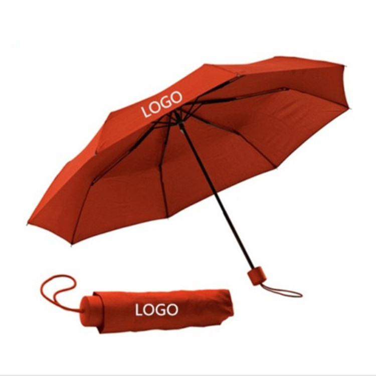 Custom Promotional Logo Printing 3 Fold Advertising Travel Foldable Folding Umbrella