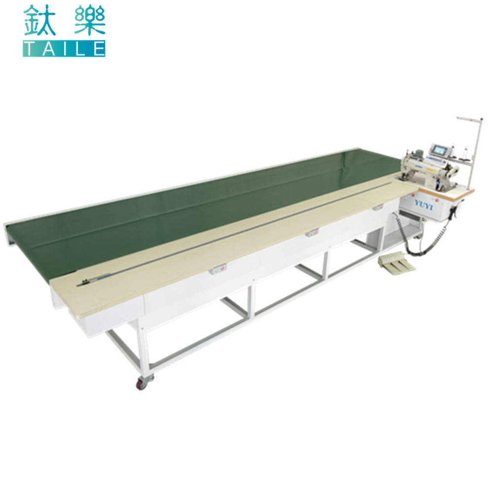 Automatic Backwards Tension flat bed conveyor make curtain hemming sewing machine