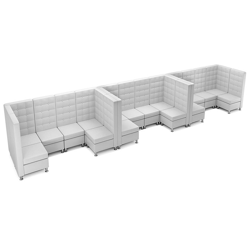 White And Black Leather Corner Sofa Dining Bench Seating Restaurant Lounge Furniture