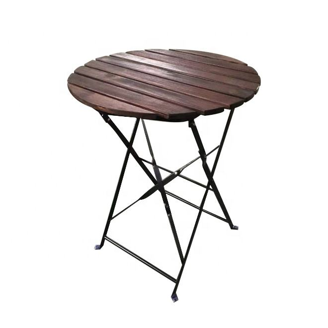 Outdoor Patio Bistro Set Metal Folding Table with ACACIA Wood