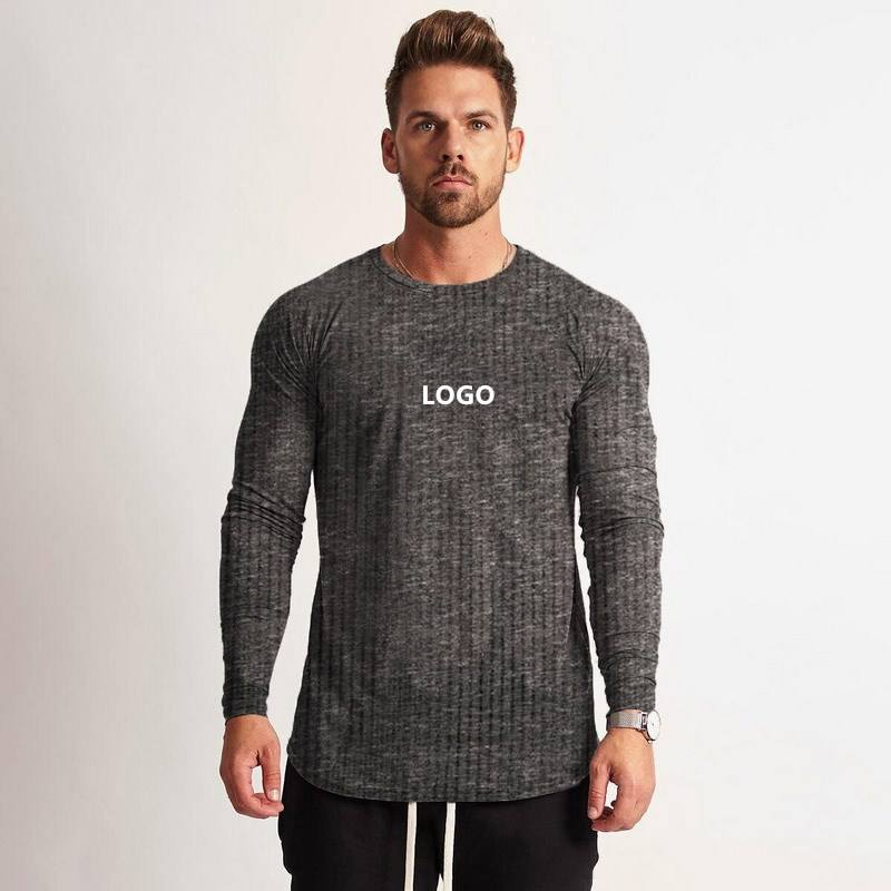 NO MOQ Fitness Long Sleeved Outdoor Running Workout Clothes Casual O Neck Tshirt For Men