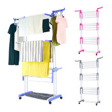 Movable folding spray painting clothes hanger 3 layers clothes hanger Laundry Drying Rack