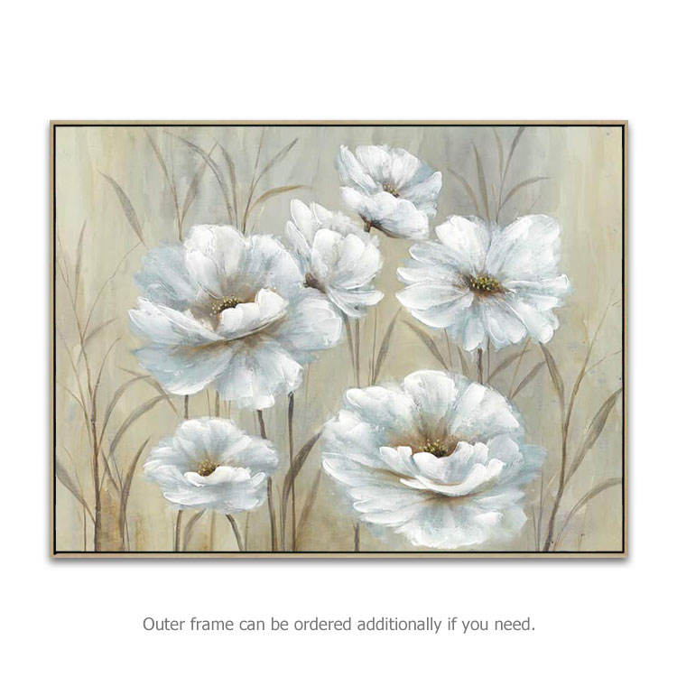 Hand Painted Modern Wall Picture Decoration White Peony Flower Oil Painting Art On Canvas