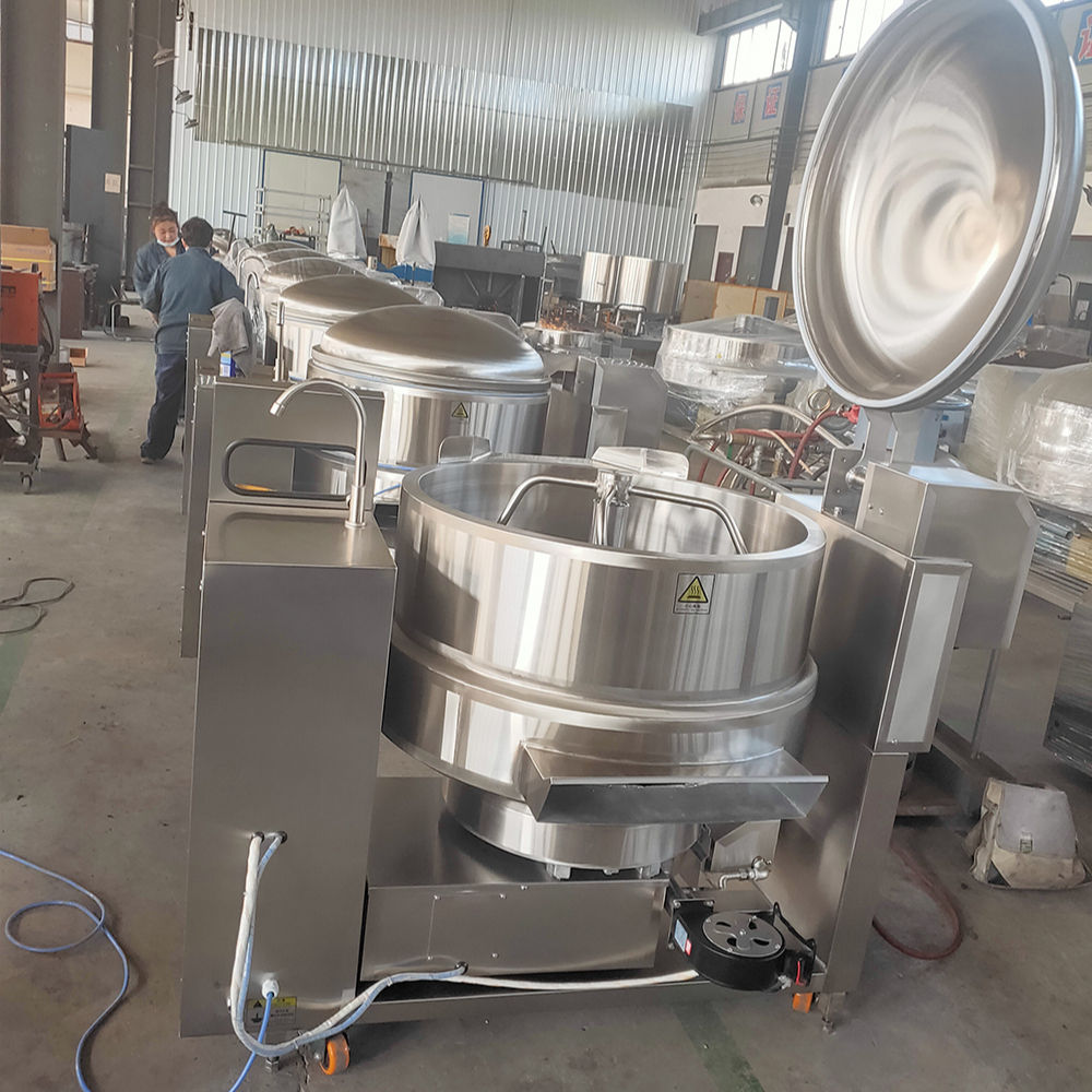 Stainless steel Industrial Tilting type Natural gas heating double Jacket kettle cooker with agitator