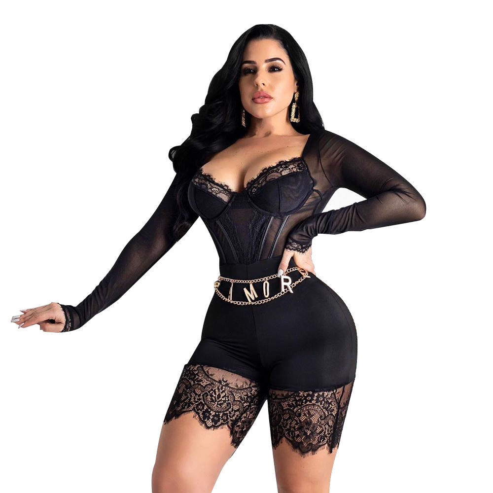 Long Sleeve Sexy Lace Romper Clubwear V-neck Bodycon Playsuit Perspective Mesh Jumpsuit Party Night Club Overall